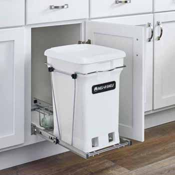 "Single White 6-gallon Compo+ Container Waste Pullout with Chrome Wire Bottom Mount, Minimum Cabinet Opening: 10-3/4""W x 18-15/16""D x 17-29/32""H"