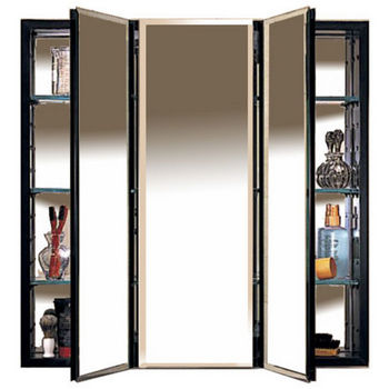 Robern Plm Series Three Door Concealed Surface Mounting Medicine Cabinet With Beveled Mirrors And Black Or White