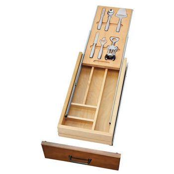 """Rev-A-Shelf Casetti Cutlery Drawer with Blumotion Under Mount Soft-Close Runners for 15"""" Cabinet, Includes Bar Accessories"""