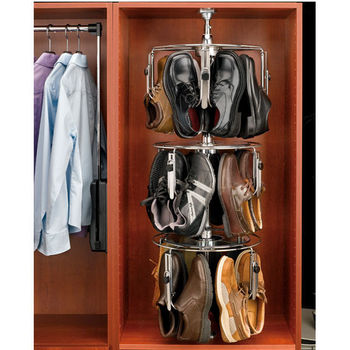 Rev-A-Shelf Men's 3-Tier Lazy Shoe-zen, Holds up to 12 Pairs, Chrome