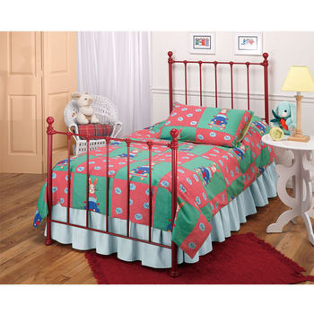 Hillsdale Furniture Molly Twin Bed Set in Red (Includes Headboard, Footboard & Rails), 39-1/2''W x 72''D x 48-1/2''H