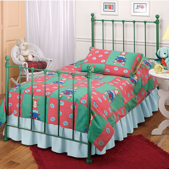 Hillsdale Furniture Molly Twin Bed Set in Green (Includes Headboard, Footboard & Rails), 39-1/2''W x 72''D x 48-1/2''H