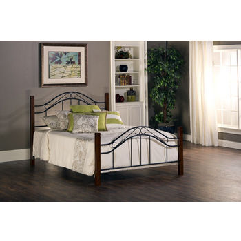 Matson / Winsloh Full Bed Set w/Rails, Cherry / Black