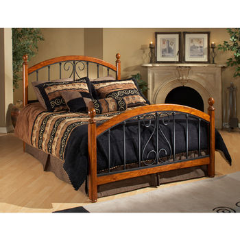 Hillsdale Furniture Burton Way Collection Full Bed Set with Rails in Black Powder Coat/Cherry (Set Includes: Headboard, Footboard and Rails)