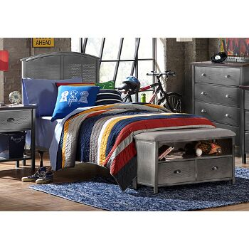 """Hillsdale Furniture Urban Quarters Twin Size Panel Bed Set with Footboard Bench and Frame Included in Black Steel Finish, 40-1/4"""" W x 63"""" D x 50"""" H"""