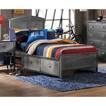 """Hillsdale Furniture Urban Quarters Twin Size Panel Storage Bed with Rails Included in Black Steel Finish, 40-1/4"""" W x 78"""" D x 50"""" H"""