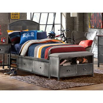 """Hillsdale Furniture Urban Quarters Twin Size Panel Storage Bed Set with Footboard Bench and Rails Included in Black Steel with Antique Cherry Finished Metal Finish, 54-1/8"""" W x 63"""" D x 50"""" H"""