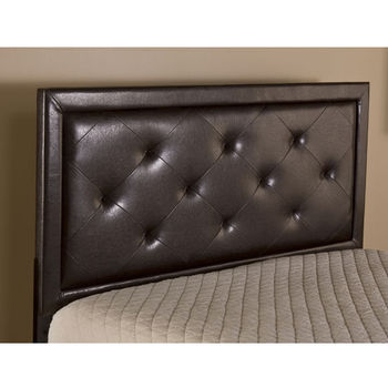 """Hillsdale Furniture Becker Headboard, with Rails, Brown Faux Leather Finish, 79"""" W x 71-1/2"""" D x 52-1/4"""" H"""
