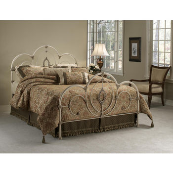 Hillsdale Furniture Victoria Collection Full Bed Set with Rails in Antique White (Set Includes: Headboard, Footboard and Rails)