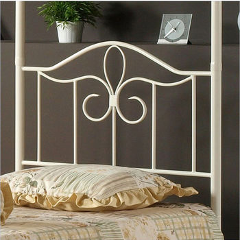 Hillsdale Furniture Westfield Canopy Twin Bed Set in White (Includes Headboard, Footboard & Rails), 39''W x 72''D x 80-1/2''H