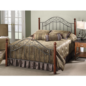 Hillsdale Furniture Martino Collection Full Bed Set with Rails in Smoke Silver/Cherry (Set Includes: Headboard, Footboard and Rails)