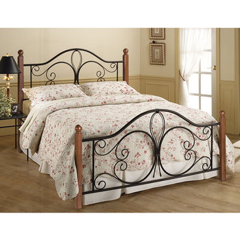 Hillsdale Furniture Milwaukee Collection Full Wood Post Bed Set with Rails in Textured Black/Cherry (Set Includes: Headboard, Footboard and Rails)