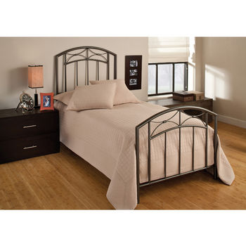 Hillsdale Furniture Morris Collection Twin Bed Set with Rails in Magnesium Pewter (Set Includes: Headboard, Footboard and Rails)