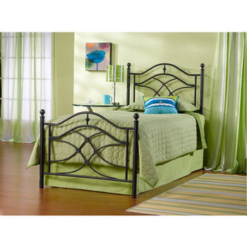 Hillsdale Furniture Cole Collection Twin Bed Set with Rails in Black Twinkle (Set Includes: Headboard, Footboard and Rails)