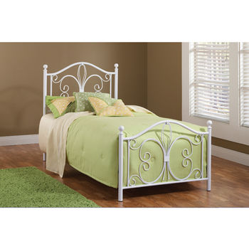 Hillsdale Furniture Ruby Collection Twin Bed Set with Rails in Textured White (Set Includes: Headboard, Footboard and Rails)