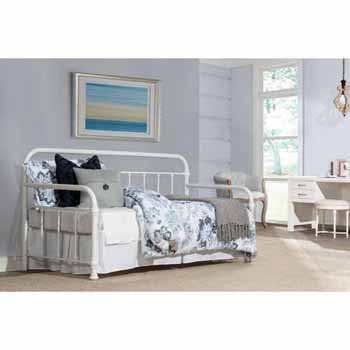 "Hillsdale Furniture Kirkland Twin Daybed, Soft White, 86-1/2""W x 40-1/2""D x 42""H"