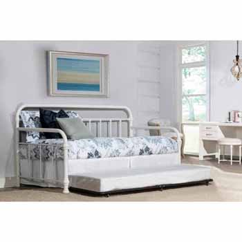 "Hillsdale Furniture Kirkland Twin Daybed with Trundle, Soft White, 86-1/2""W x 40-1/2""D x 42""H"
