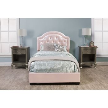 Bed Set w/ Rails Pink Faux Leather Fabric
