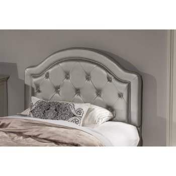 Headboard w/ Headboard Frame Silver Faux Leather Fabric