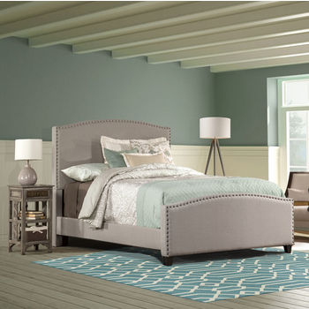 Hillsdale Furniture Kerstein Bed Set with Rails in Dove Gray (Set Includes: Headboard, Footboard and Side Rails)