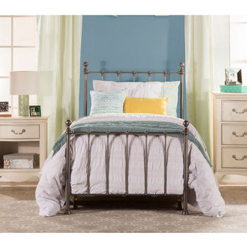 Hillsdale Furniture Molly Twin Bed Set in Black Steel (Includes Headboard, Footboard & Rails), 39-1/2''W x 72''D x 48-1/2''H