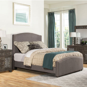 """Hillsdale Furniture Kerstein Collection in Multiple Sizes Bed Set with Rails Included, Orly Gray Fabric, 65"""" W x 91"""" D x 58-45/64"""" H"""