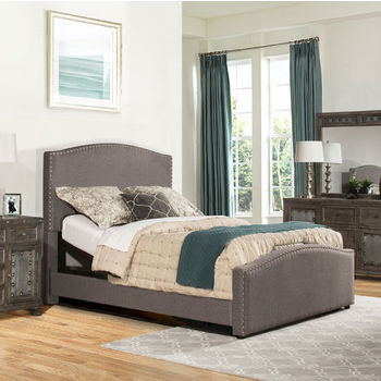 """Hillsdale Furniture Kerstein Collection Adjustable in Multiple Sizes Bed Set with Rails Included, Orly Gray Fabric, 65"""" W x 91"""" D x 58-45/64"""" H"""