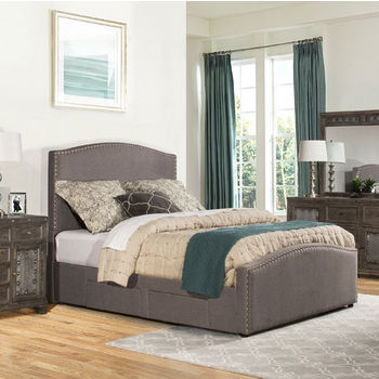 """Hillsdale Furniture Kerstein Collection in Multiple Sizes Storage Bed Set with Rails Included, Orly Gray Fabric, 65"""" W x 91"""" D x 58-45/64"""" H"""