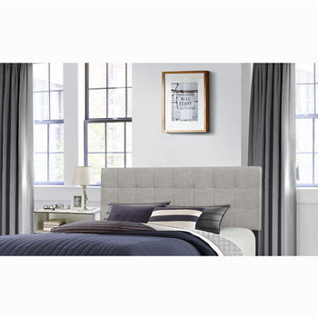 "Hillsdale Furniture Delaney Collection in Multiple Sizes Headboard with Headboard Frame Included, Glacier Gray Fabric, 62-1/4"" W x 75-1/8"" D x 45-1/4"" H"