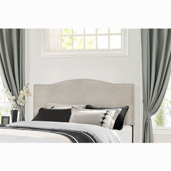 "Hillsdale Furniture Kiley Collection in Multiple Sizes Headboard with Headboard Frame Included, Fog Fabric, 64-3/8"" W x 74-1/2"" D x 49-1/4"" H"