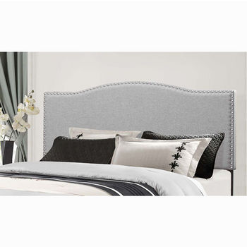 "Hillsdale Furniture Kiley Collection in Multiple Sizes Headboard with Headboard Frame Included, Glacier Gray Fabric, 64-3/8"" W x 74-1/2"" D x 49-1/4"" H"