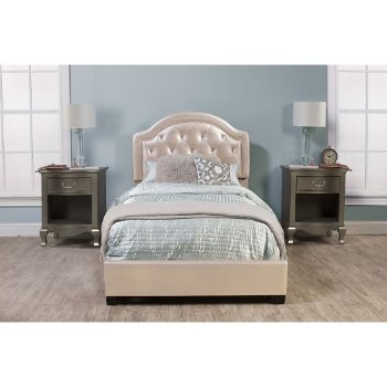 Bed Set w/ Rails Champagne Faux Leather Fabric
