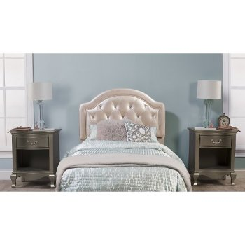 Headboard w/ Headboard Frame Champagne Faux Leather Fabric