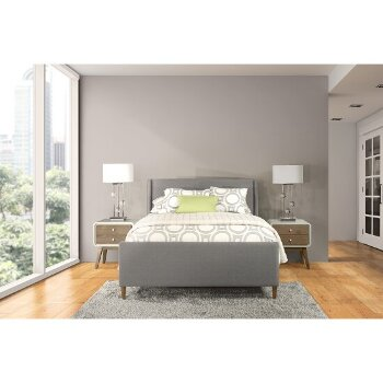 King Bed w/ Rails Linen Charcoal Fabric