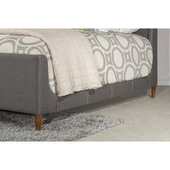 Bed w/ Rails Linen Charcoal Fabric View 6