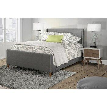 Queen Bed w/ Rails Linen Charcoal Fabric