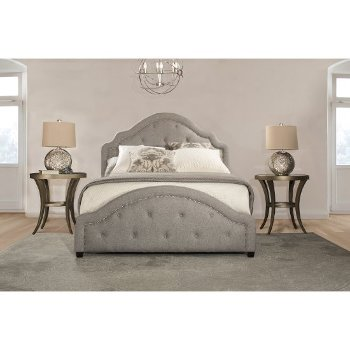 King Size Bed w/ Rails Light Gray Fabric