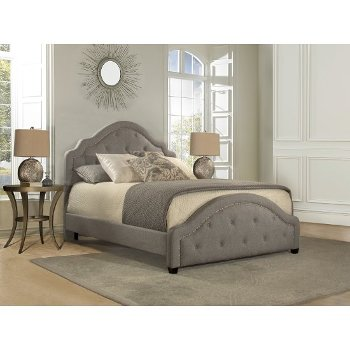 Queen Size Bed w/ Rails Light Gray Fabric