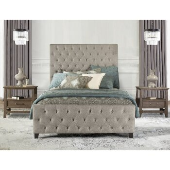 King Size Bed w/ Rails Natural Fabric