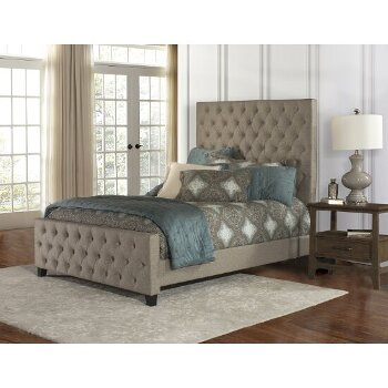 Queen Size Bed w/ Rails Natural Fabric