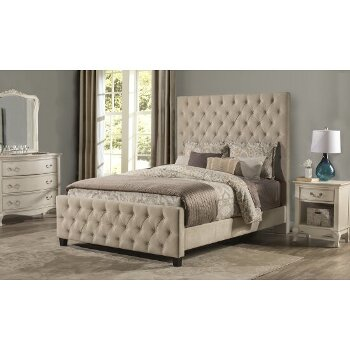 Queen Size Bed w/ Rails Beige Fabric