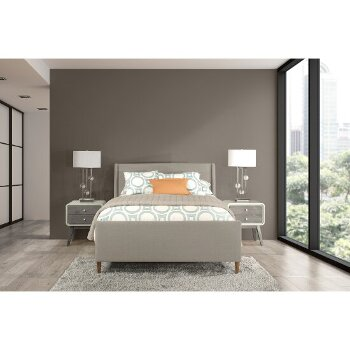 King Bed w/ Rails Dove Gray Fabric