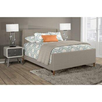 Queen Bed w/ Rails Dove Gray Fabric