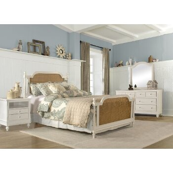 Queen Size Bed w/ Metal Bed Rails White