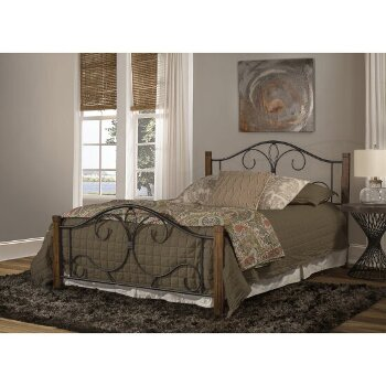 Full Size Bed Set Black & Brushed Oak Fabric