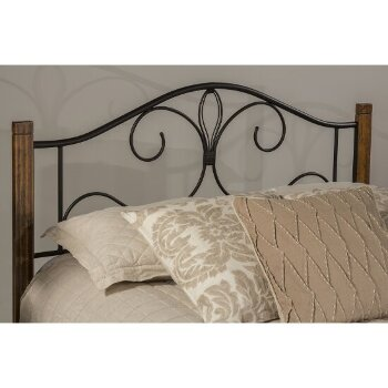 Bed Set Black & Brushed Oak Fabric View 1