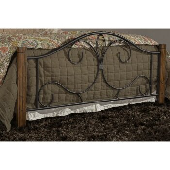 Bed Set Black & Brushed Oak Fabric View 4