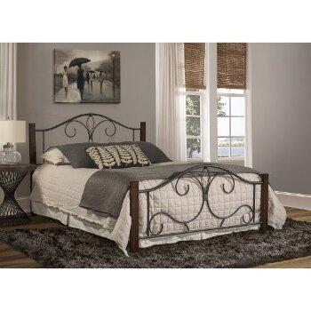 Full Size Bed Set Black & Brushed Cherry Fabric