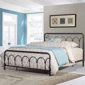 """Hillsdale Furniture Jolene Queen Bed, Textured Black (Includes: Headboard, Footboard and Bed Frame Rails), 63-3/4""""W x 81-1/4""""D x 44""""H"""