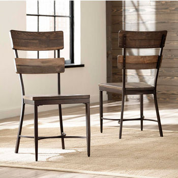 "Hillsdale Furniture Jennings Collection Dining Side Chair, Set of 2, in Distressed Walnut Finished Wood with Brown Metal, 18-3/4"" W x 19-1/2"" D x 38-1/2"" H"